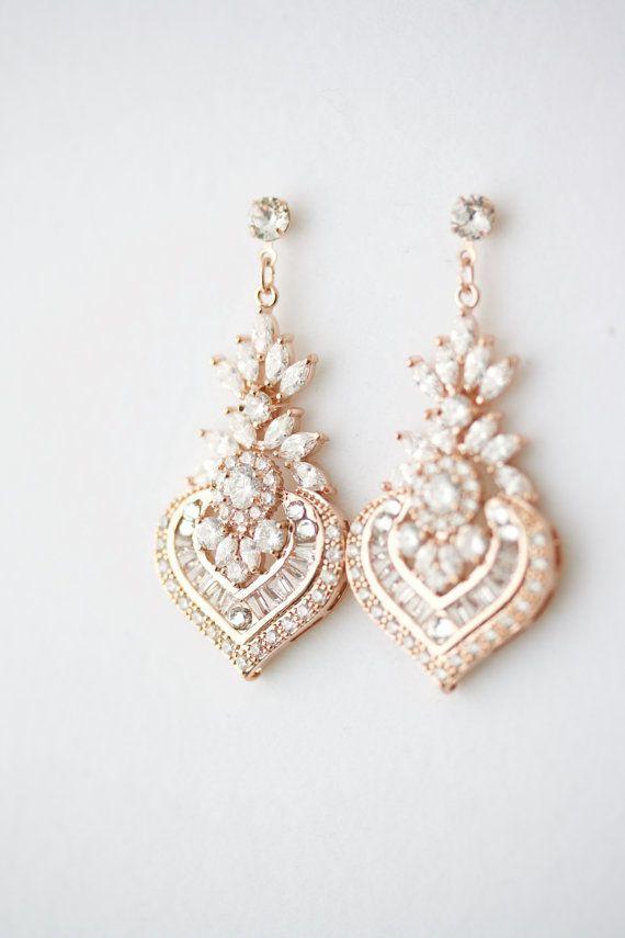 Hochzeit Ohrringe Kronleuchter Braut Ohrringe Rose Gold Hochzeit Schmuck Kristall Brautschmuck Rosa Gold Ohrringe EVIE Ohrringe   – jewelry