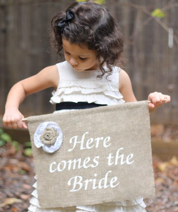 Burlap Here Comes The Bride Sign Flower Girl or Ring Bearer Rustic Shabby Chic Weddings on Etsy, $38.50