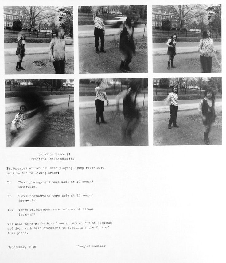 Douglas Huebler: Duration Piece #4, 1968. Documentation system with 9 photos and type-written text.