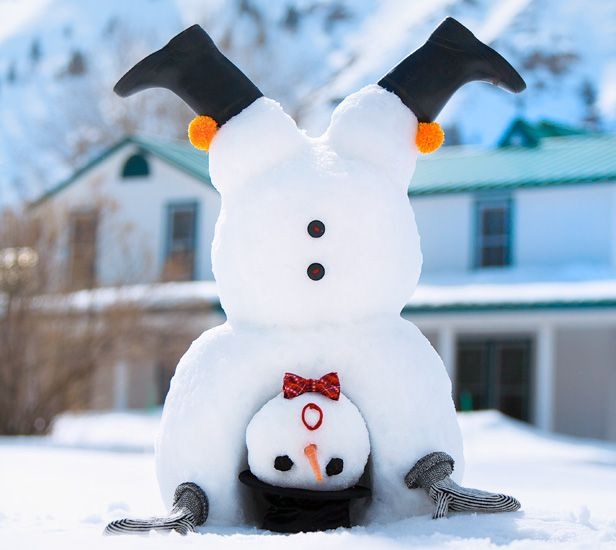 Turn a boring snow day into a snow-much-fun day by building our silly snowmen! Learn how to make a basic snowman, then pack it with personality with our fun decorating ideas. #Hallmark #HallmarkIdeas