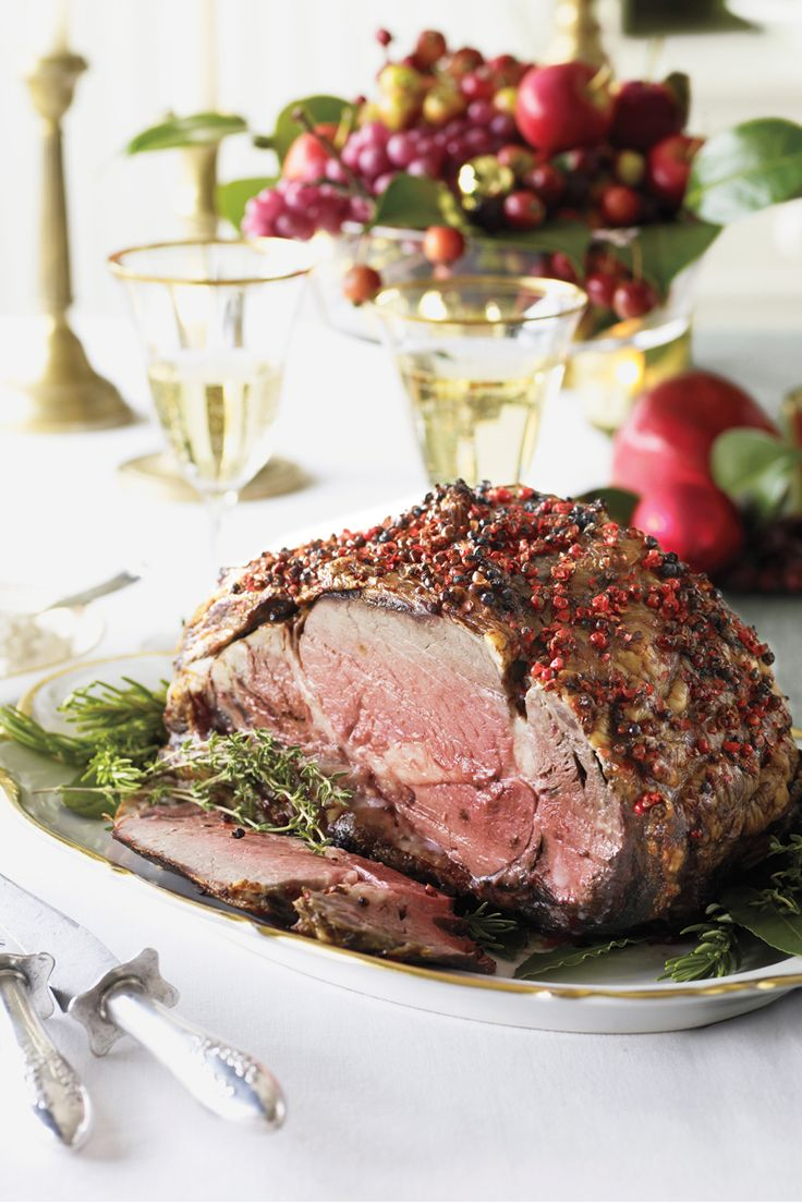 A sit-down holiday dinner calls for an entrée as elegant as this Pepper-Crusted Prime Rib