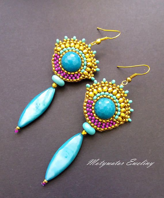 Sea Turquoise Earrings with Jade Mother of Pearl and Howlite