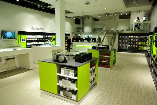 Electric feel with the green tones and lighting at this store | City Lighting Products | www.facebook.com/CityLightingProducts
