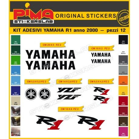 KIT DECALS STICKERS MOTORCYCLE YAMAHA R1 2000 -12 pieces-