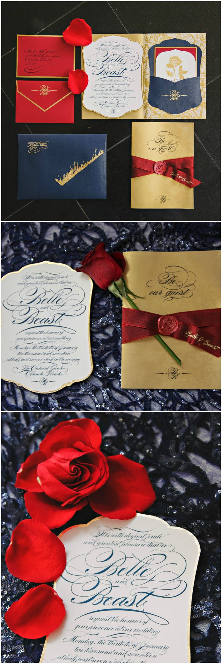 """Beauty and the Beast"" wedding, paper suite, gold invitations, red ribbon, rose, blue accents // Tab McCausland Photography"