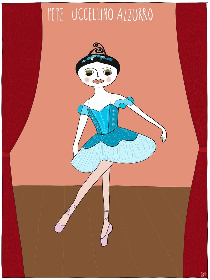 Illustration of Pepe #bluebird #dancevariation from #thesleepingbeauty by Monica Brini