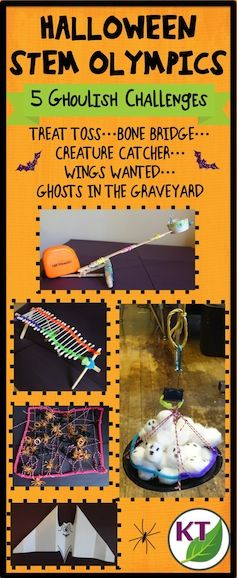 Blog post outlines 5 fun & fabulous Halloween-themed STEM challenges that can be modified for use with grades 2-8.