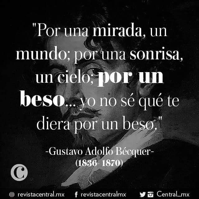 """A 180 años de su nacimiento, conmemoramos a Gustavo Adolfo Bécquer con""""Romanticismo"""". #frasesmemorables #romanticismo #Becquer"""