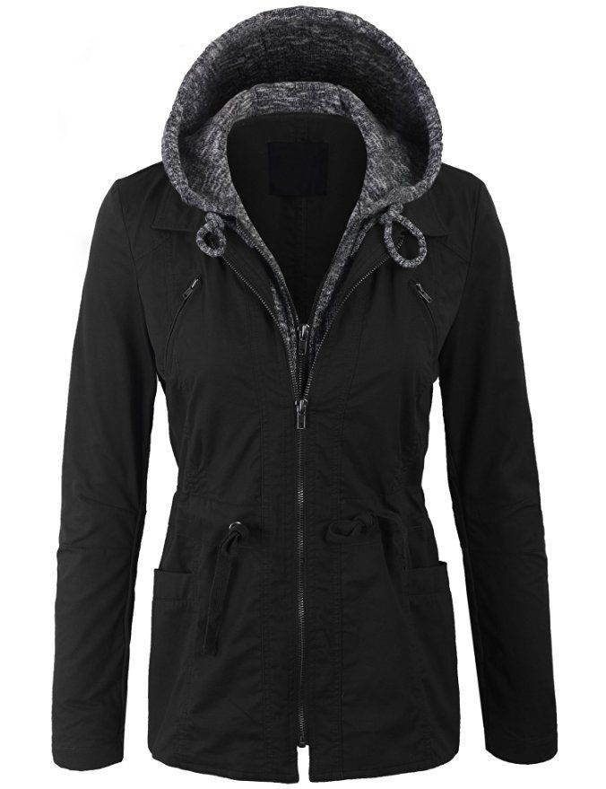 KOGMO Womens Zip Up Military Anorak Hoodie Jacket with Fur Lining Detail-S-NAVY at Amazon Women's Coats Shop
