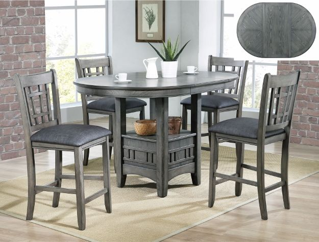 5 Pc Empire Grey Finish Wood Counter Height Oval Dining Table Set This Set Includes The Ta Oval Table Dining Dining Table Setting Counter Height Dining Table