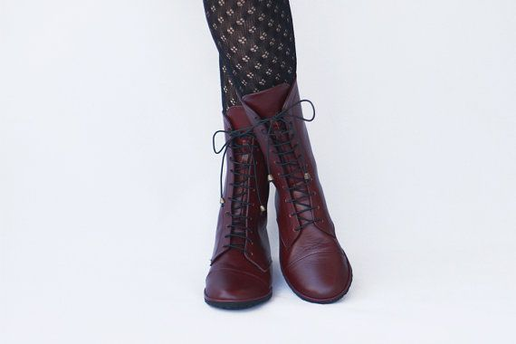 Lace up Boots  Impulse in Matte Burgundy  by TheDrifterLeather