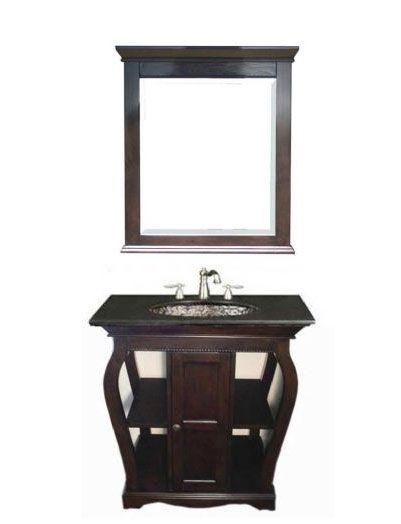 Oceana Vineta Antique Black Bathroom Vanity Base and Black Granite Top