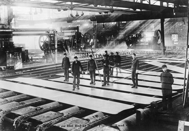 Men Laying out Plates in Steel Mill - Vintage Photograph