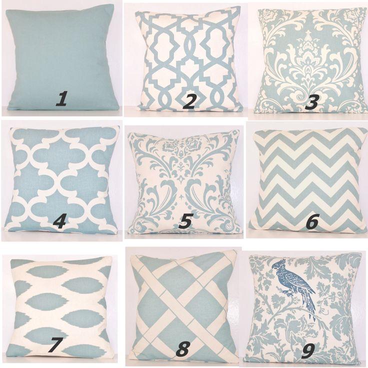 Spa Blue Pillow Cover.Pillow.Toss Pillow.Light Blue Pillow.Decorative Pillow.Sham.Euro.Lumbar.Zig Zag.Chevron Pillow.Throw Pillow.Handmade. by Cathyscustompillows on Etsy https://www.etsy.com/uk/listing/229568227/spa-blue-pillow-coverpillowtoss