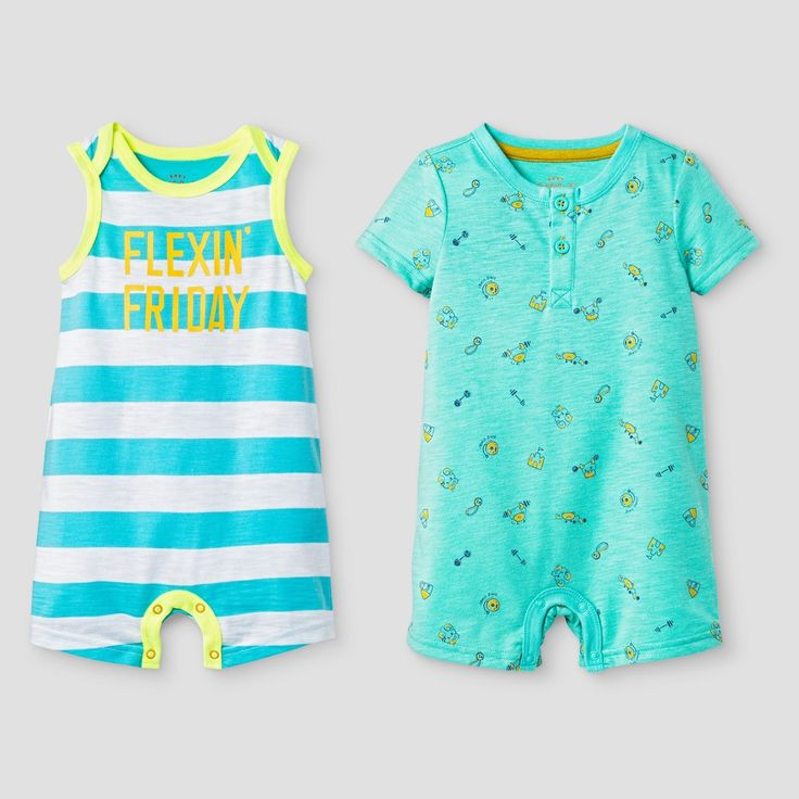 Baby Boys' Henley and Tank Romper Set - Baby Cat & Jack Green 3-6 Months, Infant Boy's, Size: 3-6 M