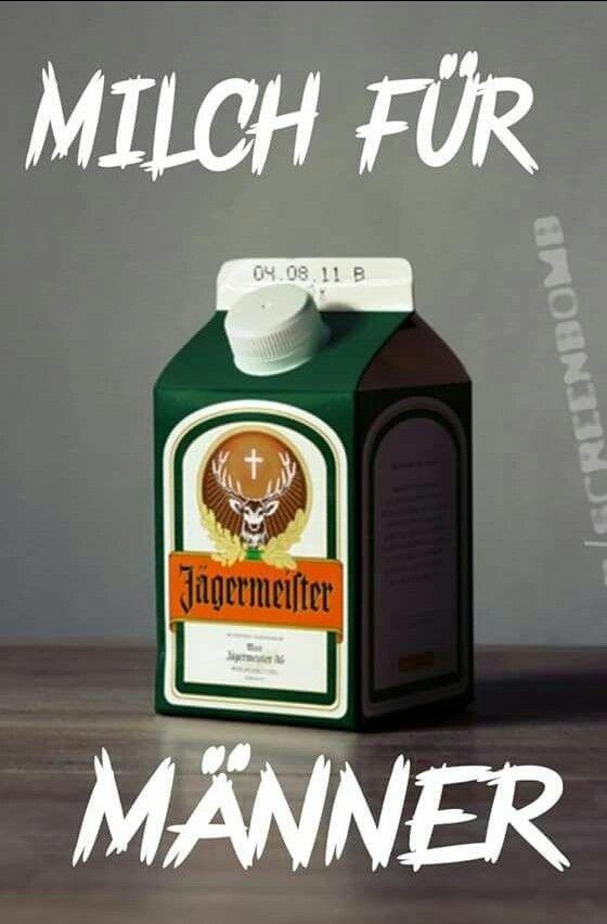 Milch für Männer. Jägermeister Tetra Pack. Alkohol.Lustig witzig Sprüche Bild Bilder