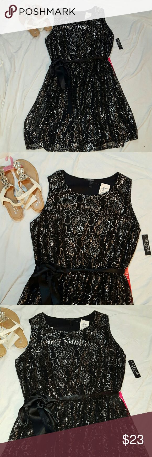 Black and silver summer dress Stunning Brand new tags attached Size 1x Beautiful sleeveless dress. Satin black belt forever women Dresses
