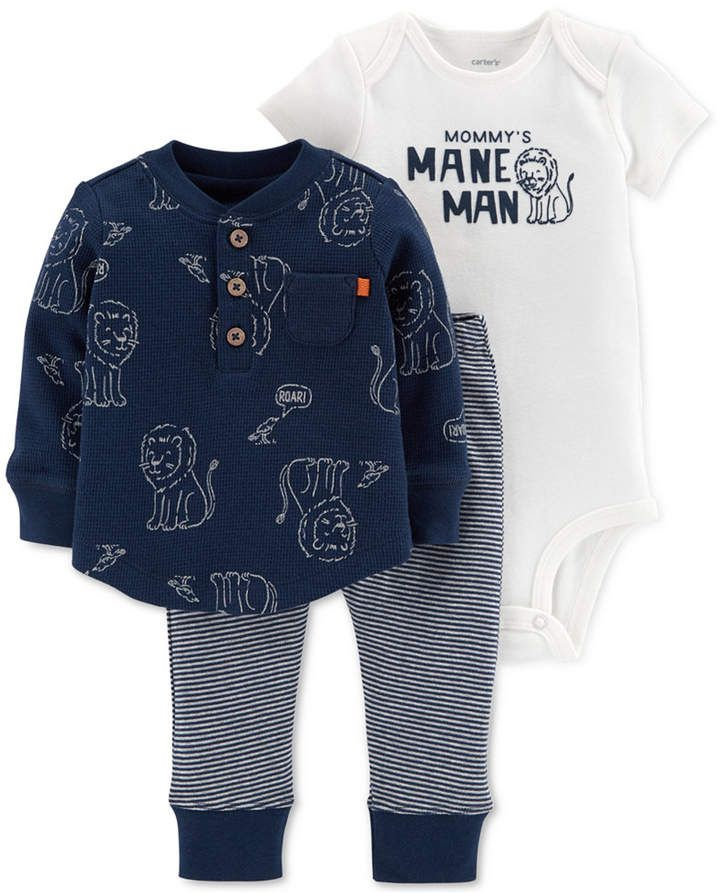 56ea6c0f0 Carter's Baby Boys 3-Pc. Printed Cotton Top, Bodysuit & Jogger Pants Set