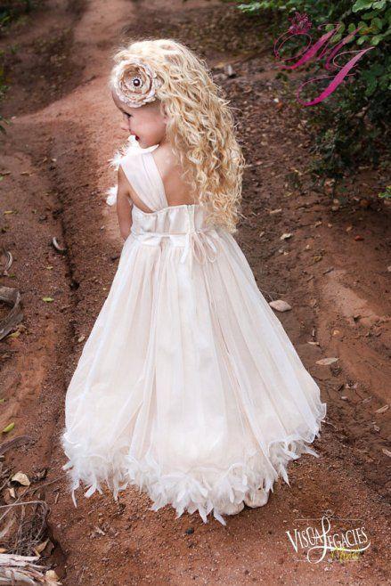 Feather Flower Girl Dress www.finditforweddings.com