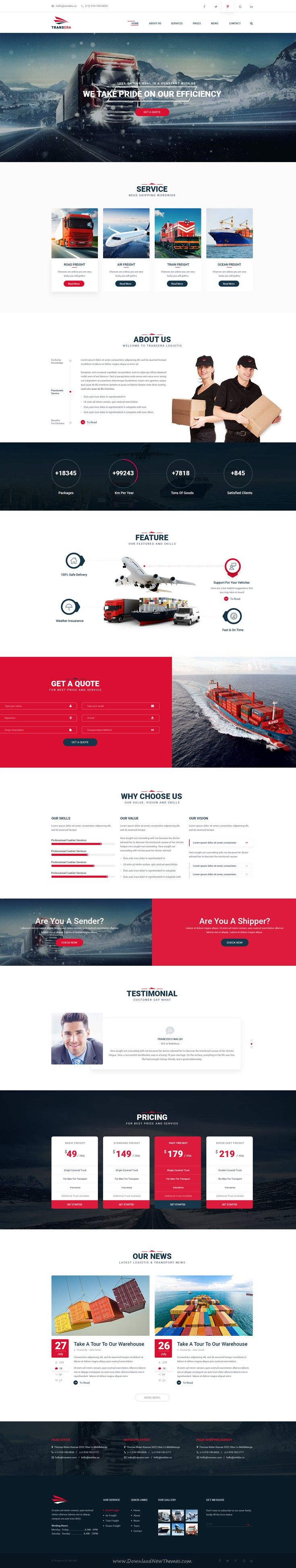 Transera is a clean and modern PSD Template for #Transportation and Logistics business #website.