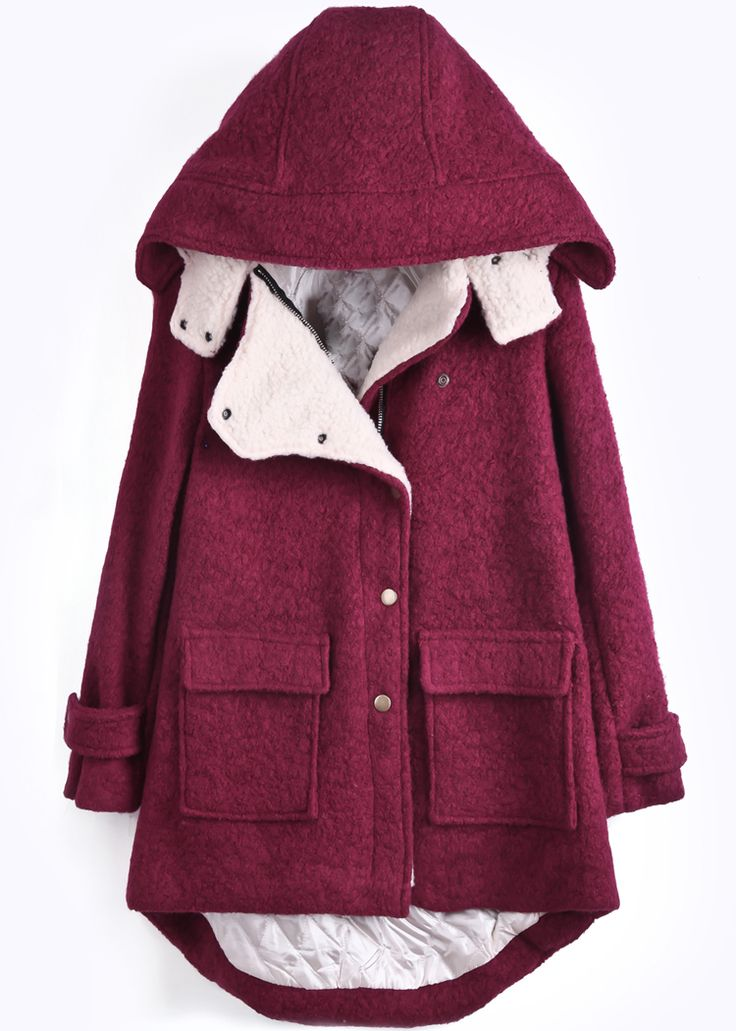 Red Hooded Long Sleeve Pockets Dipped Hem Coat - Sheinside.com