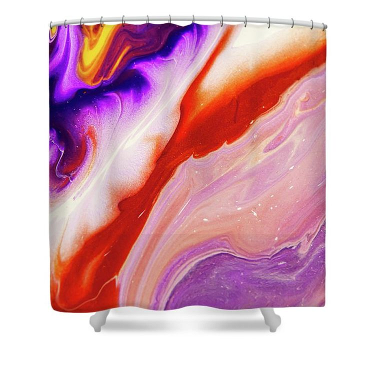 """Copper And Purple Flow Streams. Abstract Fluid Acrylic Painting Shower Curtain by Jenny Rainbow.  This shower curtain is made from 100% polyester fabric and includes 12 holes at the top of the curtain for simple hanging.  The total dimensions of the shower curtain are 71"""" wide x 74"""" tall."""