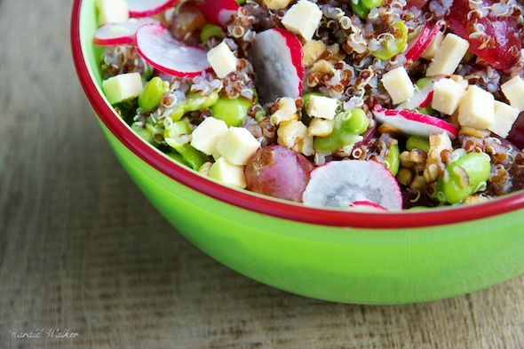 Quinoa Salad with Walnuts, Fava Beans, Radishes and Soy Cheese