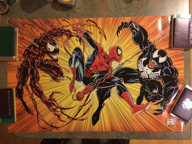 Rare 1993: Spiderman vs Carnage vs Venom Marvel Poster 22 ...