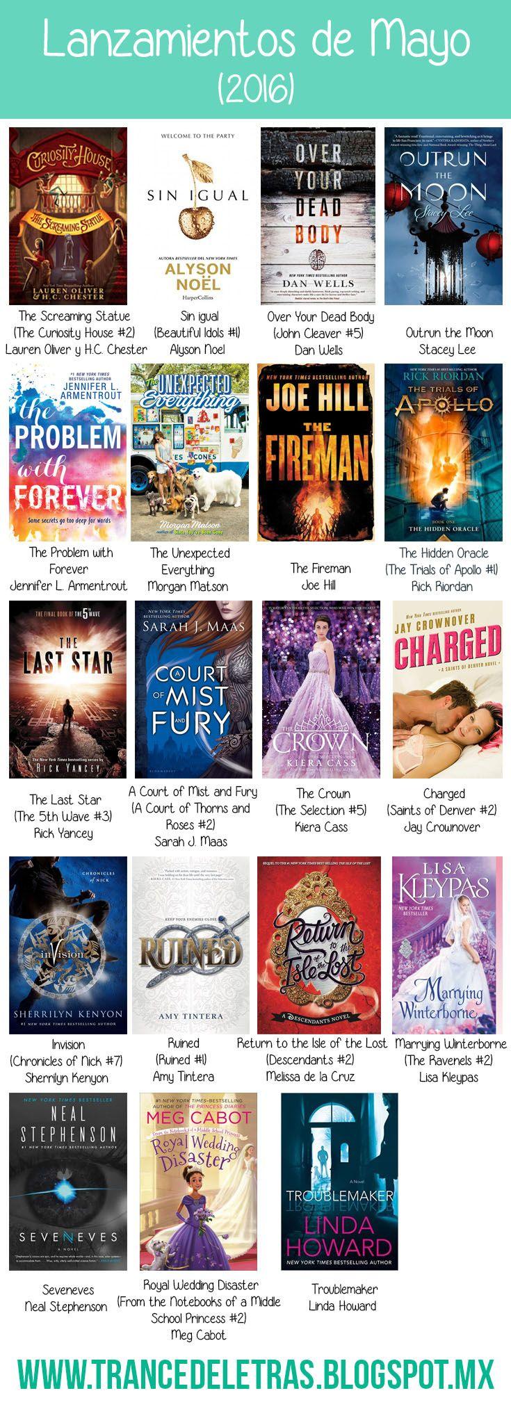 Lanzamientos literarios destacados para el mes de Mayo del 2016