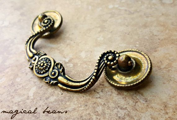 KBC Vintage Antiqued Brass Victorian Drop Bail Pull by MagicalBeansHome.com