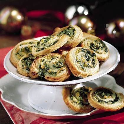 12 Savory Puff Pasty Appetizers for entertaining .... spinach & artichoke, mushroom puffs, carmelized onion, brie & sundried tomatoes, cheesy, greek with calamata olives or crab & chives