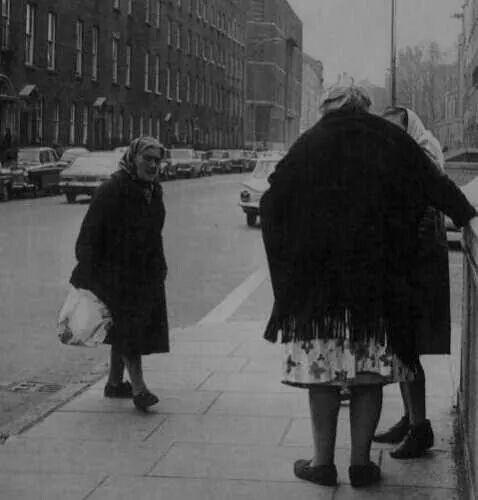 Stopping for a natter on Sean McDermott Street, Dublin.