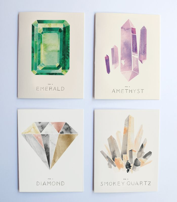 Illustrated Gems Boxed Set | Rocket-Ink - beautiful watercolor illustrations of gemstones and minerals
