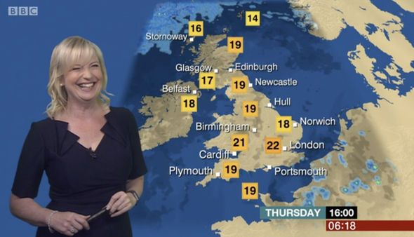 BBC weather: Carol Kirkwood almost SLIPS UP during forecast - 'Look at that guilty smile' - http://buzznews.co.uk/bbc-weather-carol-kirkwood-almost-slips-up-during-forecast-look-at-that-guilty-smile -