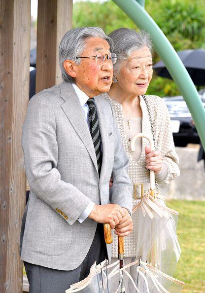 Emperor Akihito and Empress Michiko visit Yurigahama Beach at Yoronjima Island on November 17, 2017 in Yoron, Kagoshima, Japan.