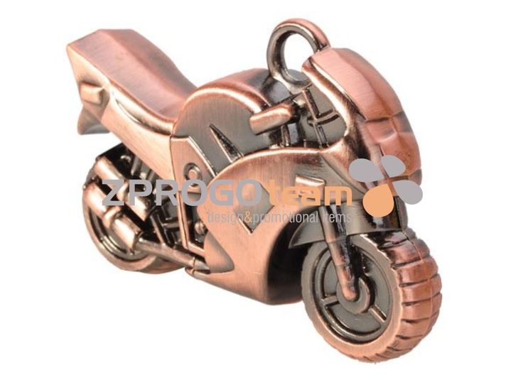 NOVINKA - NEW: Promotional metal USB flash drive in the design of the motorbike. USB flash drive can be applied by laser engraving.
