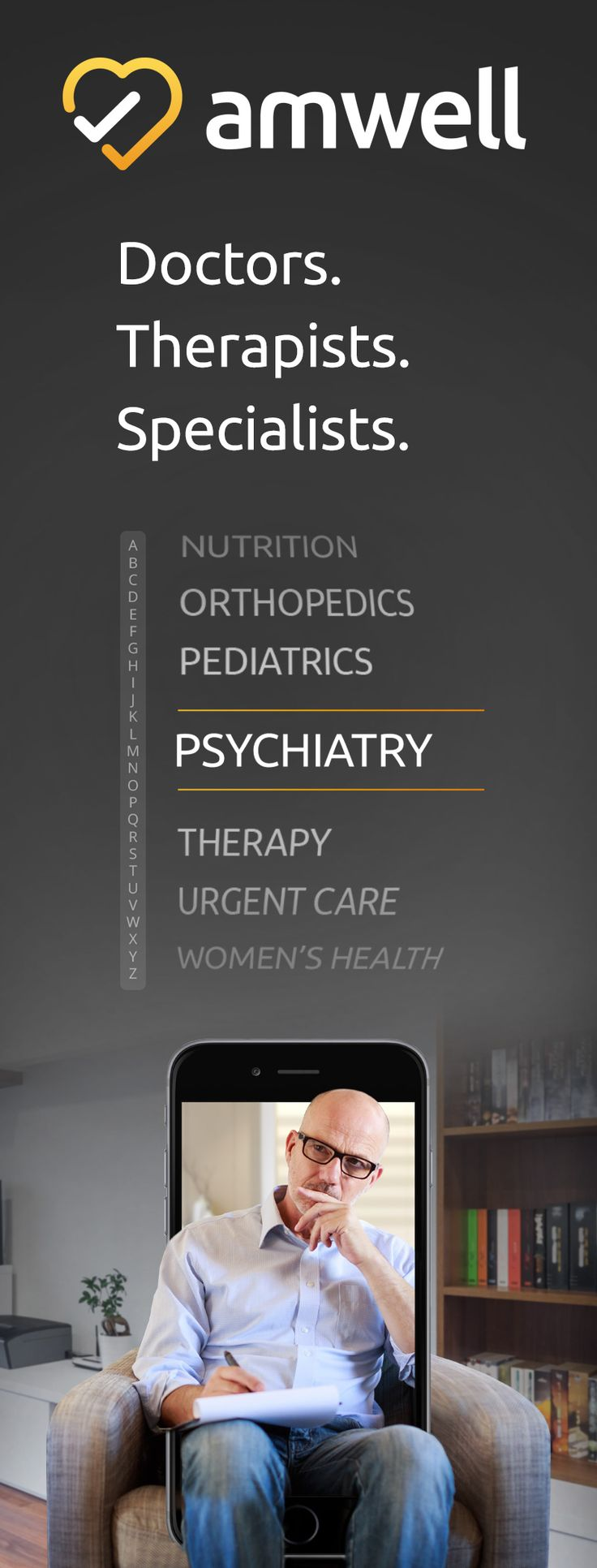 Connect with Doctors, Therapists, and Specialists over mobile video in just minutes. Install the Amwell app and access healthcare from anywhere, at any time.   https://5zp-6.tlnk.io/serve?action=click&publisher_id=188601&site_id=49870&agency_id=1910&sub_campaign=Pinterest&sub_ad=100.5p&site_id_android=49602