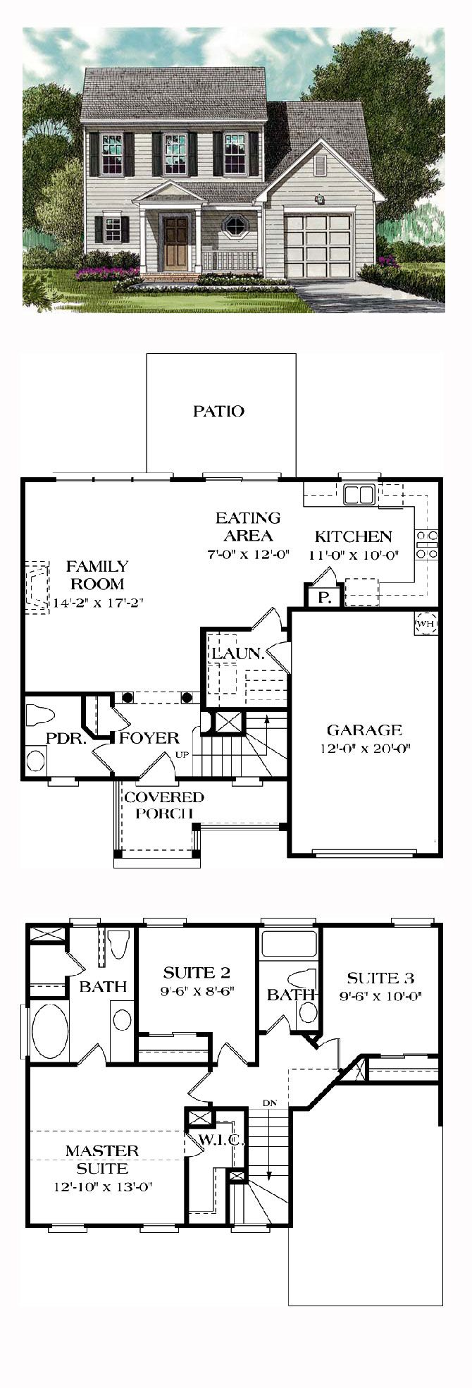 Colonial House Plan 96921 | Total Living Area: 1354 sq. ft., 3 bedrooms and 2.5 bathrooms. #colonialhome