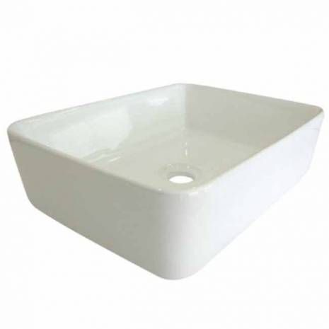 White China Vessel Bathroom Sink without Overflow Hole  Simplicity best describes the look of this white china vessel sink. Its square shape and soft curves are compact but spacious enough to complement both the traditional and modern look. The body is thick and is used for a countertop installation made from fine vitreous china for durability and reliance.