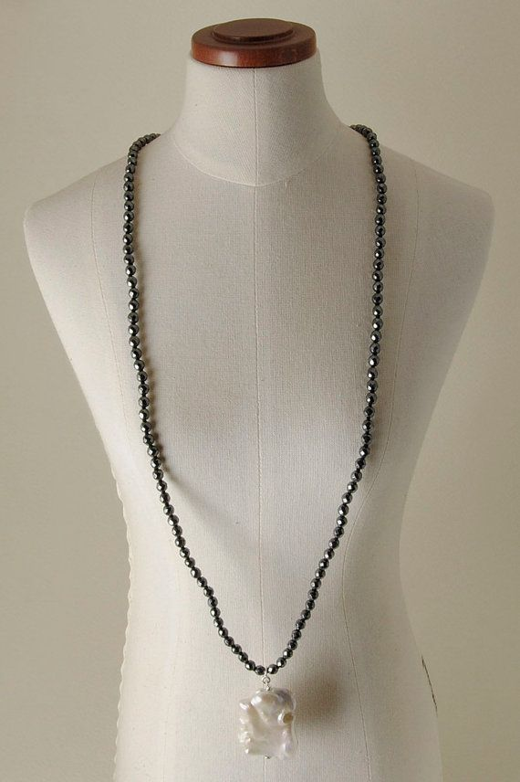 Pearls, Hematite and 925% Silver necklace
