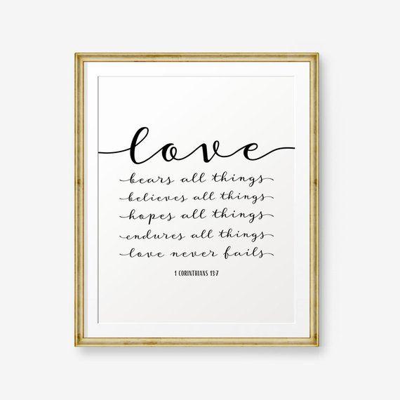 Love Bears All Things 1 Corinthians 13 7 Bible Verse Art Print