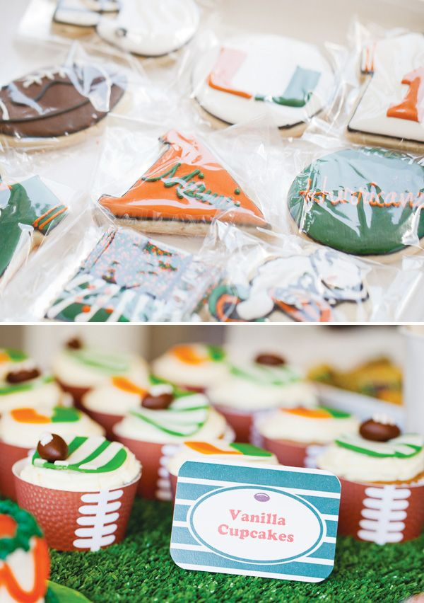 Love this UM Football themed birthday party featured on @Hostess with the Mostess AND it includes our Touchdown Pass cupcake wrappers too! SO fun!