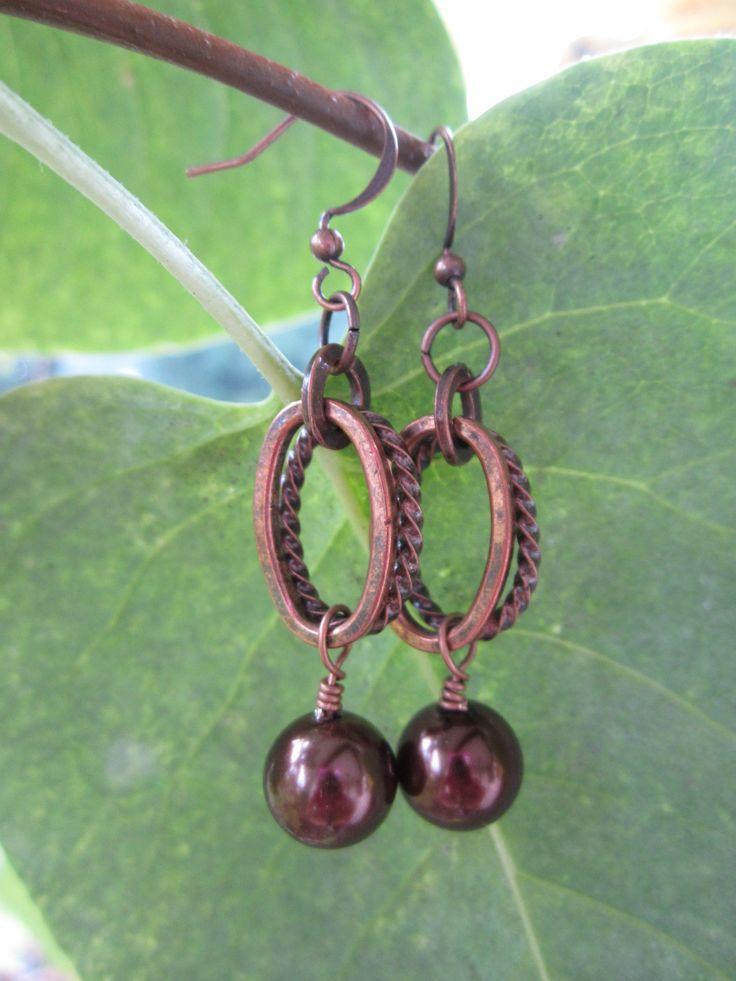 Antique copper and Swarovski pearl drops