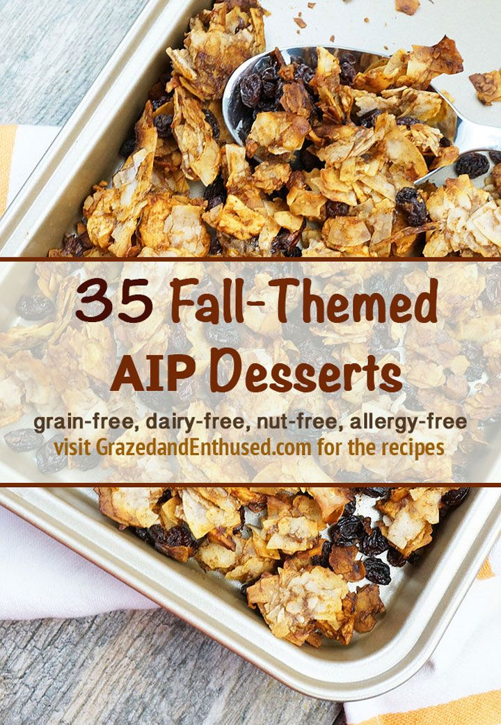A collection of Fall & Holiday Themed AIP Paleo allergy-friendly desserts gathered by Grazed & Enthused