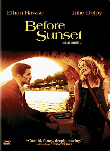 before sunset - sequel to Before Sunrise...great dialogue/adlibing of just natural conversation...Love this movie