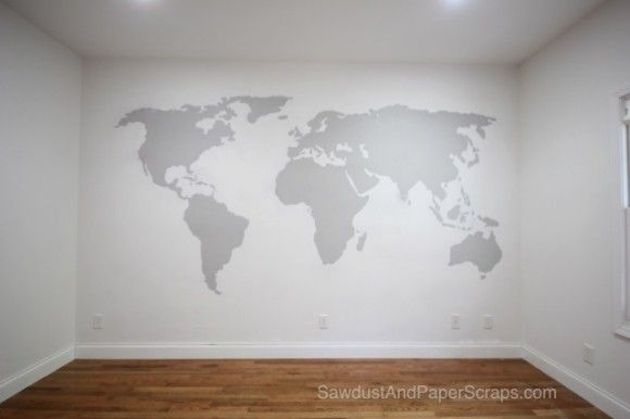 World Map Wall Painting - great for a kid or family room!