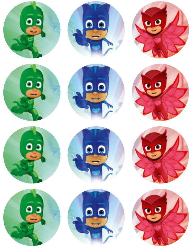 PJ Masks Edible Image Cupcake Toppers by ShoreCakeSupply on Etsy