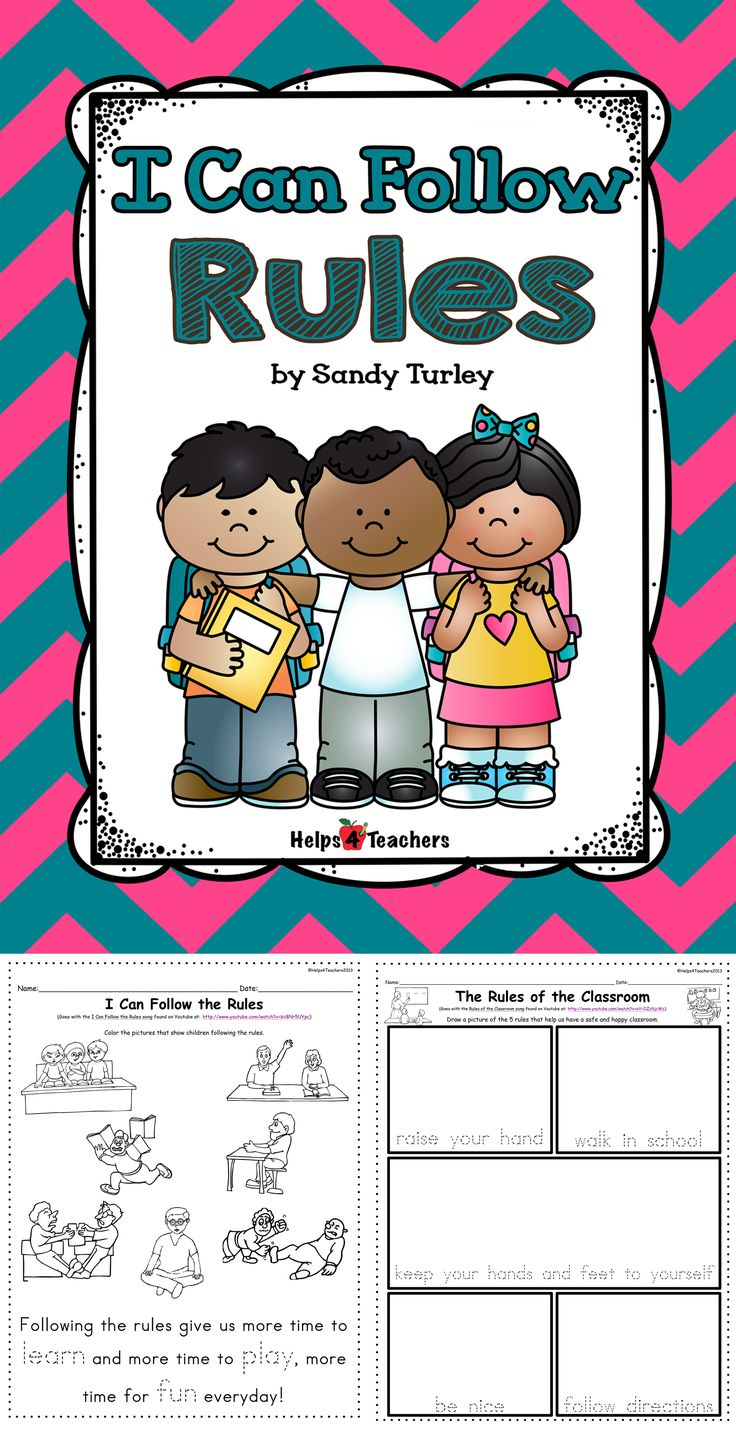 FREE!!!  This set includes two activity sheets that talk about Rules in the Classroom and Following Rules.  They go quite nicely with two songs found on YouTube titled: Rules in the Classroom (by Harry Kindergarten) and I Can Follow Rules (by Heidisongs.com).  Great activities for the beginning of the school year! Found at: http://www.teacherspayteachers.com/Store/Helps4teachers