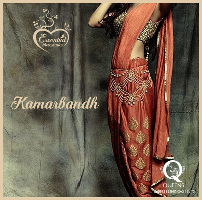 Kamarbandh is a belt that goes around your waist and is usually  worn with sarees or crop top lehenga styled suits. #QueensEmporium #Sarees #Kamarbandh #EssentialAccessories