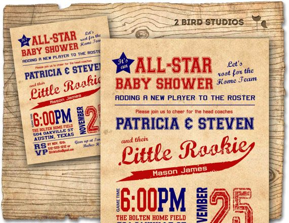 Baseball baby shower invitation  baseball boy baby by 2birdstudios